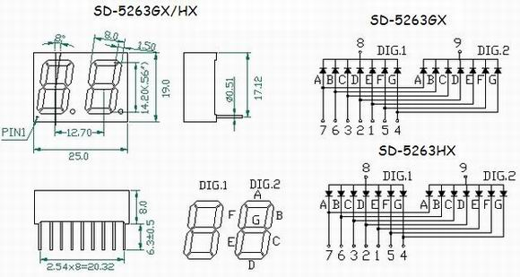 two digits led seven segment display  two digits 0 56 inch